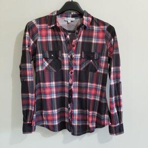 Bluecrush plaid button down shirt